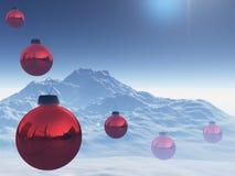 bolljul över röd snow Arkivfoto