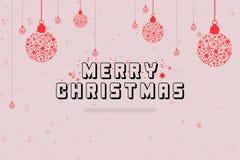 bolljulen gjorde snowflakes Design för kort för hälsning för julfestivalberömmar Royaltyfria Foton
