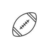 Bolllinje symbol, översiktsvektortecken, linjär stilpictogram som för amerikansk fotboll isoleras på vit stock illustrationer