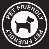 Bollo amichevole dell'animale domestico, bianco isolato su fondo nero, illustrazione di vettore illustrazione di stock