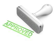 Bollo approvato bianco con testo verde Fotografie Stock Libere da Diritti