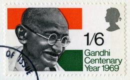 Bollo britannico d'annata di Mahatma Gandhi Immagini Stock Libere da Diritti
