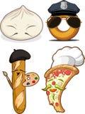 Bollo chino, pan francés, pizza y buñuelo Fotografía de archivo libre de regalías