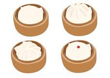 Bollo cocido al vapor de la materia, dim sum en el vapor de bamb? y cocina china en el fondo blanco libre illustration