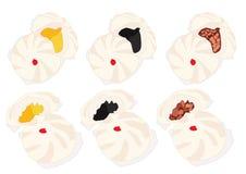 Bollo cocido al vapor de la materia, dim sum y cocina china stock de ilustración