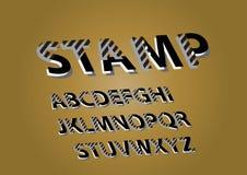 Bollo composito del segno di vettore Lettere propense complesse composite eleganti, numeri e simboli di alfabeto illustrazione vettoriale