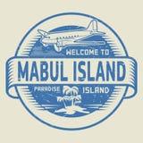 Bollo con il benvenuto del testo all'isola di Mabul, isola di paradiso Fotografie Stock Libere da Diritti