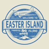 Bollo con il benvenuto del testo all'isola di pasqua, isola di paradiso Fotografia Stock Libera da Diritti
