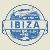 Bollo con il benvenuto del testo a Ibiza, isola di paradiso Fotografia Stock Libera da Diritti