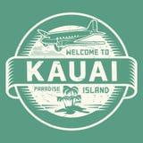 Bollo con il benvenuto del testo a Kauai, isola di paradiso Immagini Stock Libere da Diritti