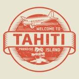 Bollo con il benvenuto del testo in Tahiti, isola di paradiso Immagine Stock Libera da Diritti