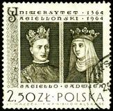 Bollo con il re Jagiello e Jadwiga Fotografia Stock Libera da Diritti