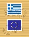 Bollo con la bandierina della Grecia Fotografia Stock Libera da Diritti