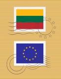 Bollo con la bandierina della Lituania   Fotografia Stock Libera da Diritti