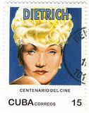 Bollo con Marlene Dietrich Fotografie Stock Libere da Diritti