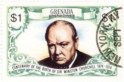 Bollo con Winston Churchill Immagine Stock