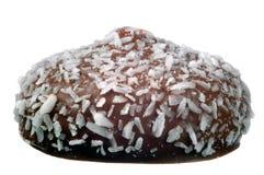 Bollo cubierto con el chocolate y los cocos foto de archivo libre de regalías