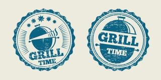 Bollo d'annata della guarnizione del menu della bistecca del barbecue della griglia del BBQ Illustrazione di vettore Immagini Stock