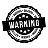 Bollo d'avvertimento Testo dentro Distintivo di vettore Eps10 illustrazione di stock