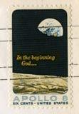Bollo degli Stati Uniti che celebra la missione della luna di Apollo 8 Fotografia Stock