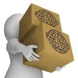 Bollo del commercio equo e solidale sulle scatole che mostrano prodotti etici Fotografie Stock