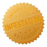 Bollo del distintivo di INFESTAZIONE dell'oro illustrazione di stock