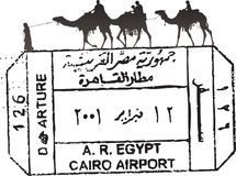 Bollo del passaporto dell'Egitto Fotografia Stock