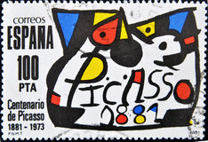 Bollo del pittore Pablo Picasso fotografie stock libere da diritti