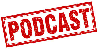 Bollo del quadrato di podcast Fotografia Stock