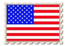 Bollo dell'alberino con la bandiera nazionale degli S.U.A. Fotografia Stock Libera da Diritti