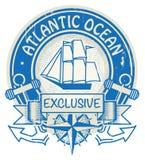 Bollo dell'Oceano Atlantico illustrazione vettoriale