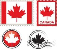 Bollo della bandiera del Canada Fotografie Stock