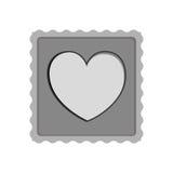 Bollo della posta con l'icona di forma del cuore Fotografia Stock Libera da Diritti