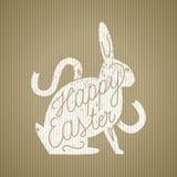 Bollo di calligrafia di sihouette del coniglio di Pasqua Immagini Stock