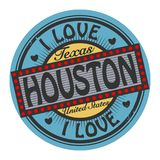 Bollo di colore di lerciume con amore Houston del testo I dentro royalty illustrazione gratis