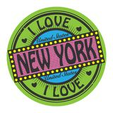 Bollo di colore di lerciume con amore New York del testo I dentro royalty illustrazione gratis