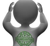Bollo di garanzia soddisfatti o rimborsati di 30 giorni sull'uomo Fotografia Stock Libera da Diritti