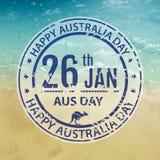 Bollo di giorno dell'Australia nel vettore Emblema blu della fattoria per l'Australia Immagini Stock Libere da Diritti