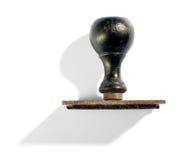 Bollo di gomma d'annata della mano con la maniglia di legno Fotografie Stock Libere da Diritti