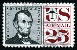 Bollo di Lincoln S.U.A. 25c dell'annata Immagini Stock Libere da Diritti