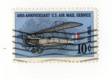 bollo di servizio di posta dell'aria dei 50 Stati Uniti di anniversario Fotografia Stock Libera da Diritti