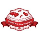 Bollo di speciali di giorno del ` s del biglietto di S. Valentino con i cuori, per vendita al dettaglio di affari Immagini Stock Libere da Diritti