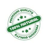 Bollo di vettore: 100 naturali, elemento di progettazione per il pacchetto dei cosmetici dell'alimento biologico Fotografie Stock