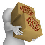 Bollo importante sulla consegna critica di manifestazioni delle scatole Fotografie Stock Libere da Diritti