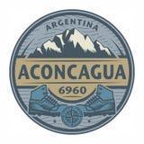 Bollo o emblema con testo Aconcagua, Argentina illustrazione di stock