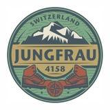 Bollo o emblema con testo Jungfrau, Svizzera illustrazione di stock