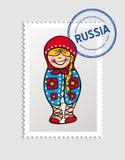 Bollo postale della persona russa del fumetto Fotografie Stock