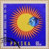 Bollo postale della Polonia, dedicato all'anno del Sun calmo fotografie stock libere da diritti