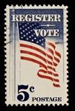 Bollo postale di voto e del registro Fotografia Stock