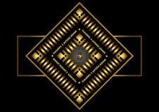 Bollo quadrato dorato della struttura per un documento ufficiale Immagine Stock